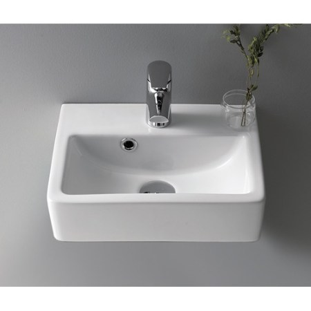 cerastylenameeks mini ceramic 15'' wall mount bathroom sink with