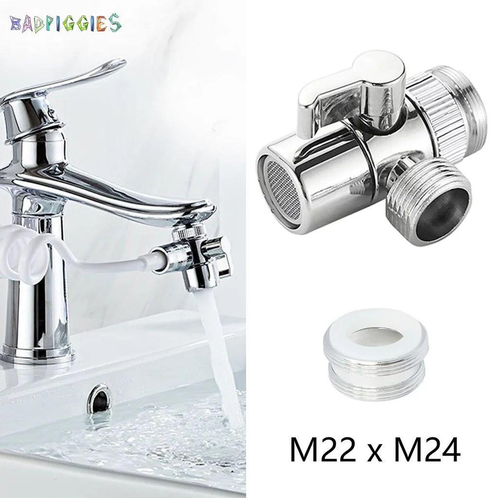 badpiggies faucet diverter sink faucet connector splitter valve to hose adapter for bathroom kitchen basin m22 x m24 outer thread