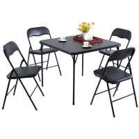 5 Piece Black Folding Card Table and Chair Set - Walmart.com