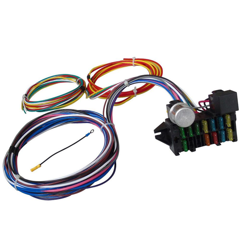 hight resolution of qiilu 12 circuit universal wiring harness muscle car hot rod street wire street rod wiring further universal street rod wiring harness