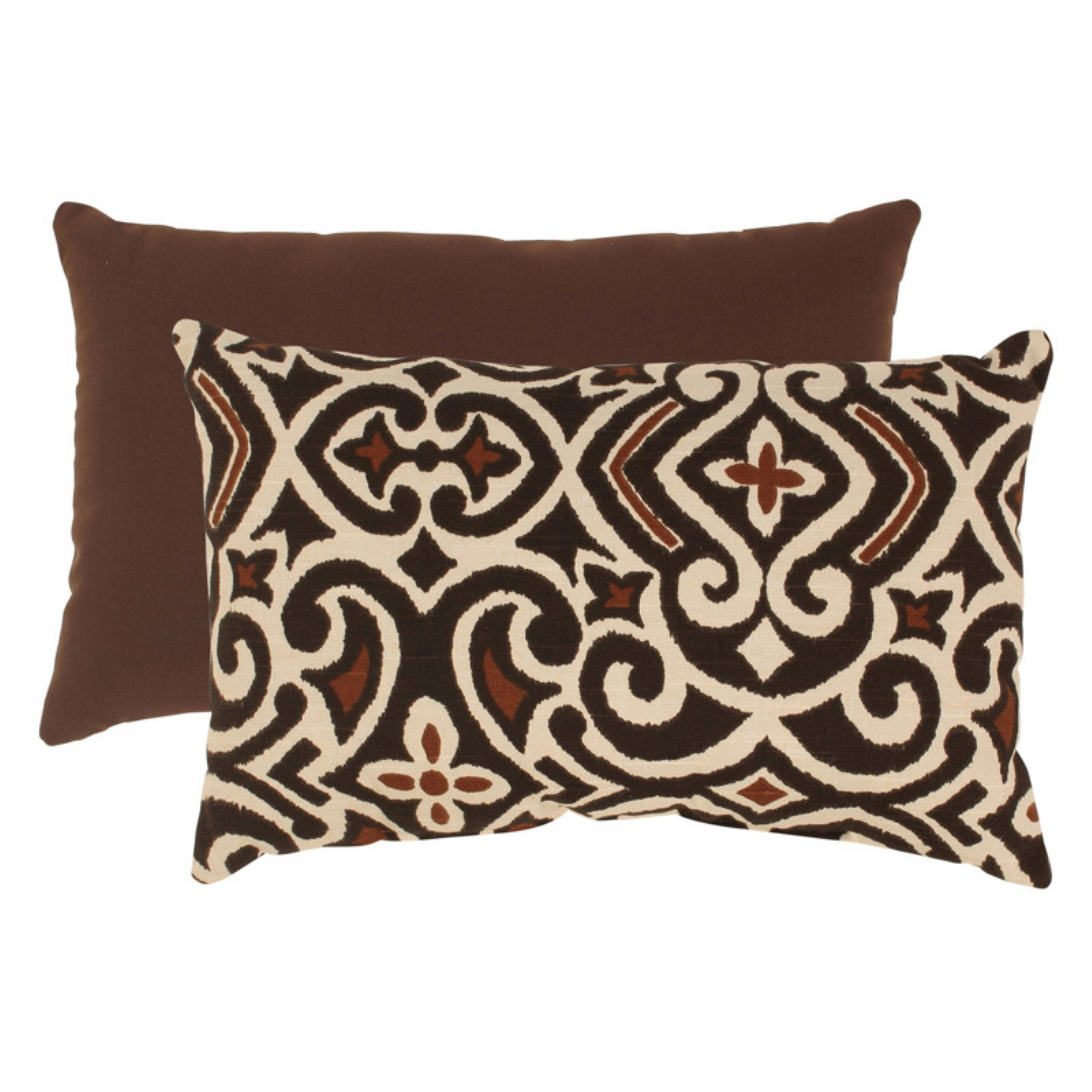 Pillow Perfect Brown and Beige Damask Rectangular Throw