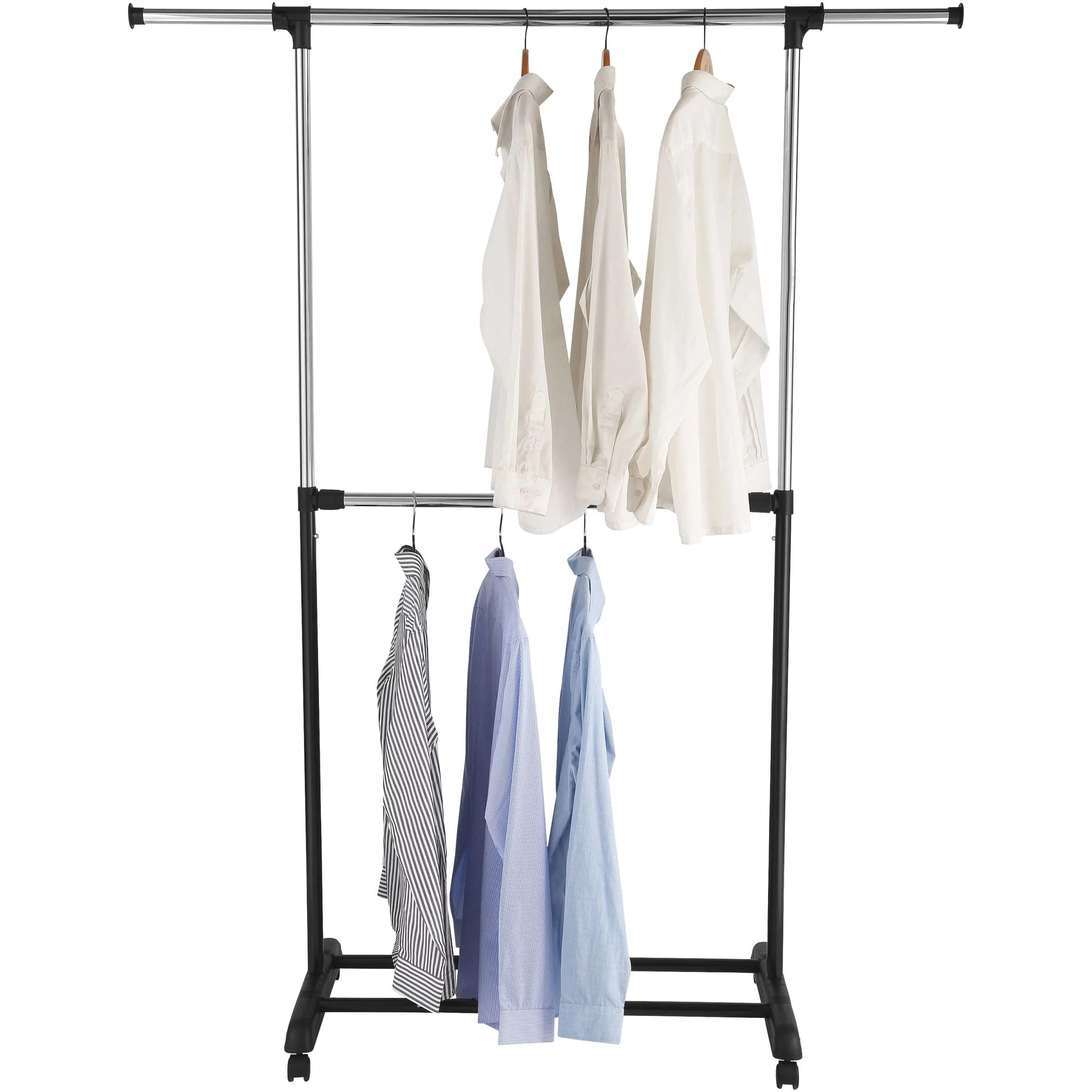 mainstays 2 tier adjustable rolling garment rack walmart com