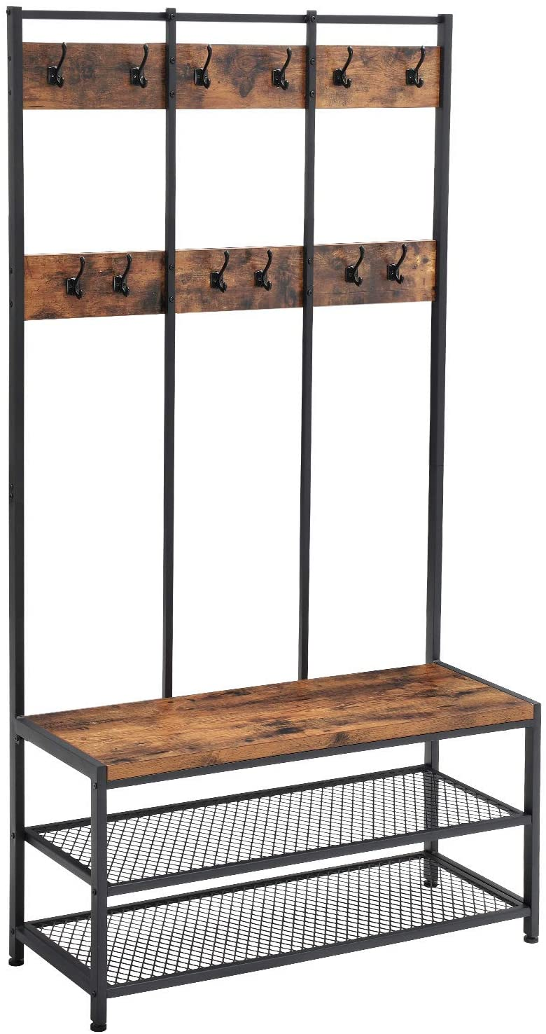 vasagle large coat rack stand coat tree with 12 hooks and shoe bench in industrial design hall tree multifunctional hallway shelf office bedroom