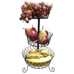 Kitchen Fruit Basket Green Countertops Evelots Decorative Stand Countertop Organizer 3 Tier Black