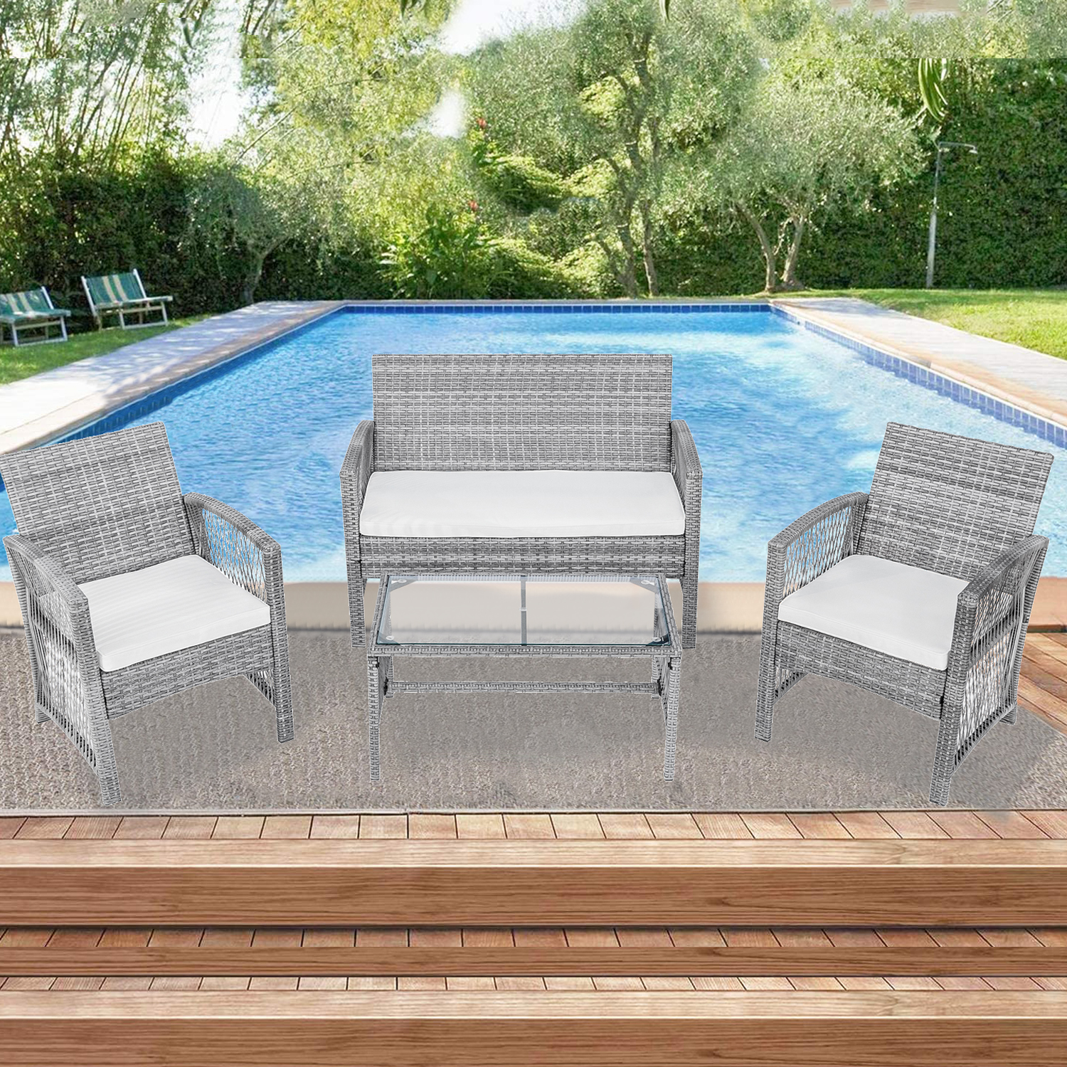 rattan patio furniture sets clearance 4 piece outdoor conversation sets wicker bar set with 2 arm chairs 1 loveseat coffee table patio dining