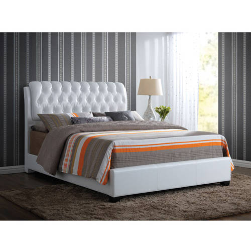 acme furniture ireland king faux leather bed with tufted headboard white