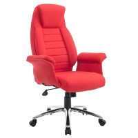 HomCom High Back Fabric Executive Office Chair - Red ...