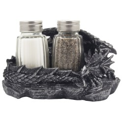 Mythical Dragon Salt and Pepper Shaker Set with Holder Figurine for Medieval & Fantasy Bar or Kitchen Table Decor Sculptures and Gothic Gifts by Home n Gifts