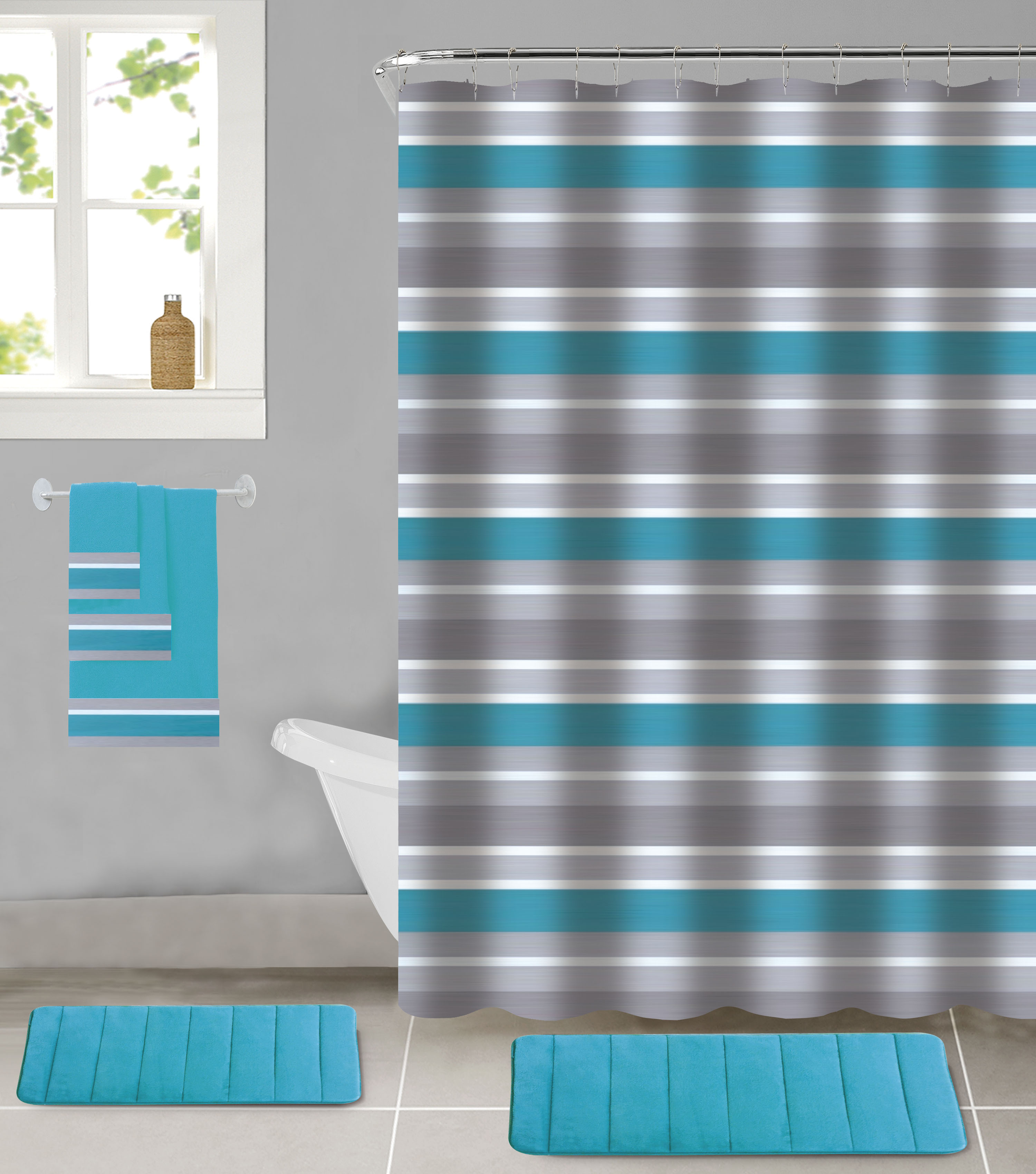 all american collection 18 piece bathroom set with 2 memory foam bath mats matching shower curtain and 3 bath towels walmart com