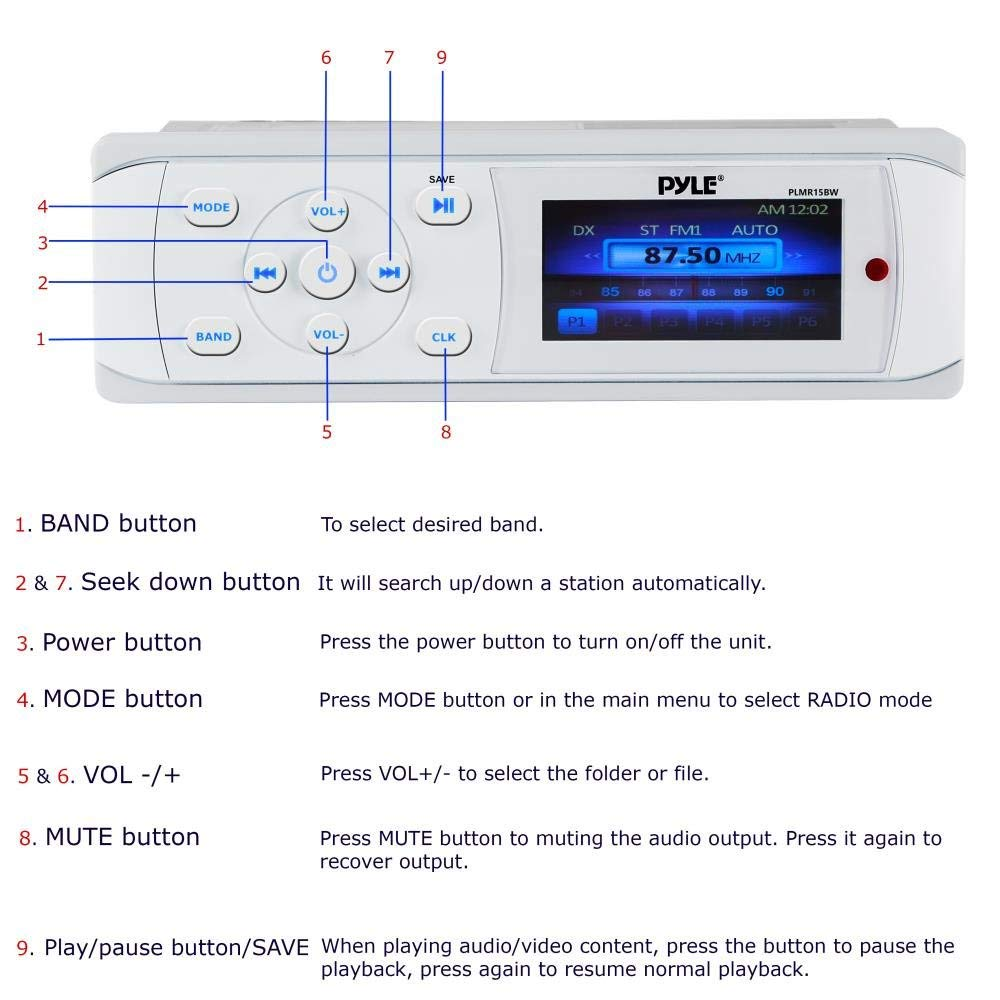 medium resolution of  bluetooth marine stereo radio waterproof weather proof single din 12v boat receiver with digital color lcd rca mp3 usb am fm radio wiring harness