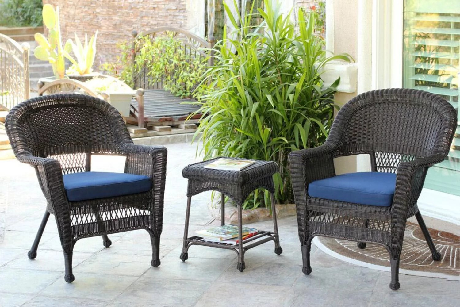 Black Patio Chairs 4 Piece Black Resin Wicker Patio Furniture Set Loveseat
