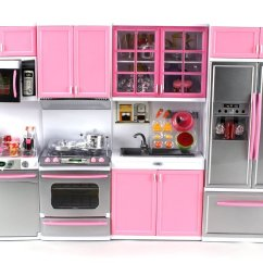 Toy Kitchen Sets Wooden Play Set Deluxe Modern Battery Operated Playset Perfect For Use With 11 5 Tall Dolls Walmart Com