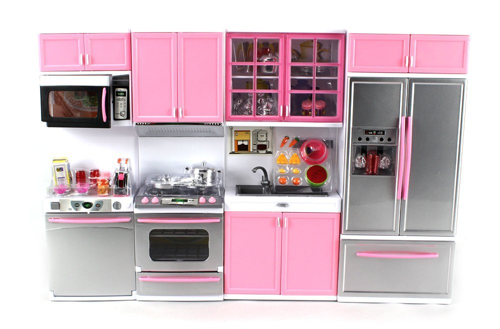 barbie kitchen playset outdoor covers deluxe modern battery operated toy perfect for use with 11 5 tall dolls walmart com