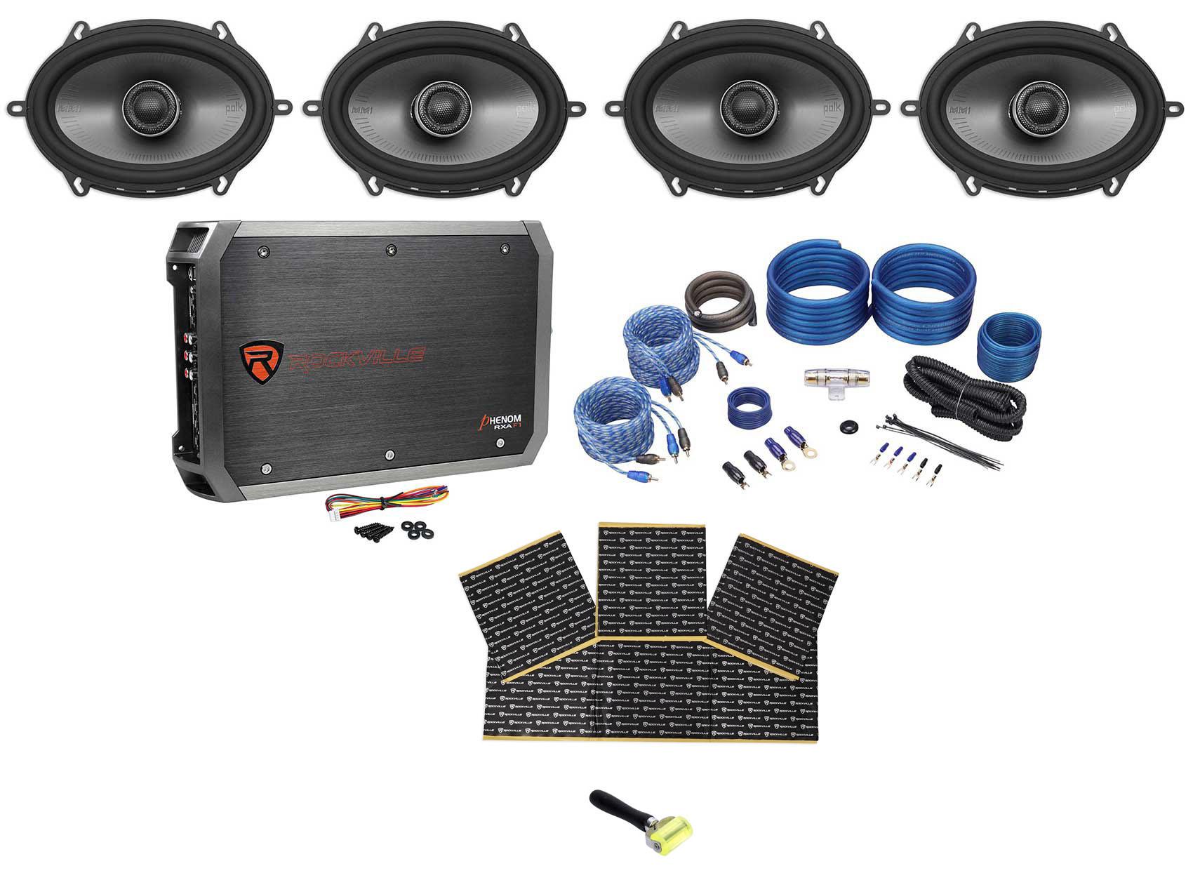 hight resolution of  4 polk audio mm572 5x7 1200 watt car speakers 4 ch amplifier wires rockmat walmart com