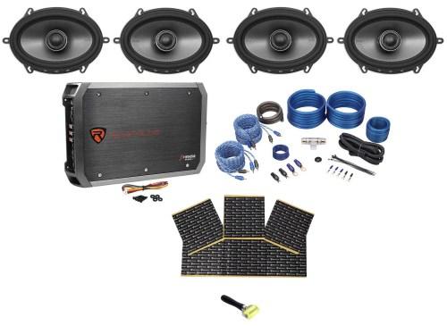 small resolution of  4 polk audio mm572 5x7 1200 watt car speakers 4 ch amplifier wires rockmat walmart com