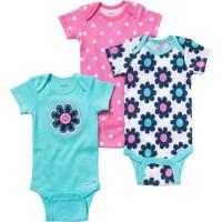 Gerber - Newborn Baby Girl Bodysuits Variety, 3-Pack ...