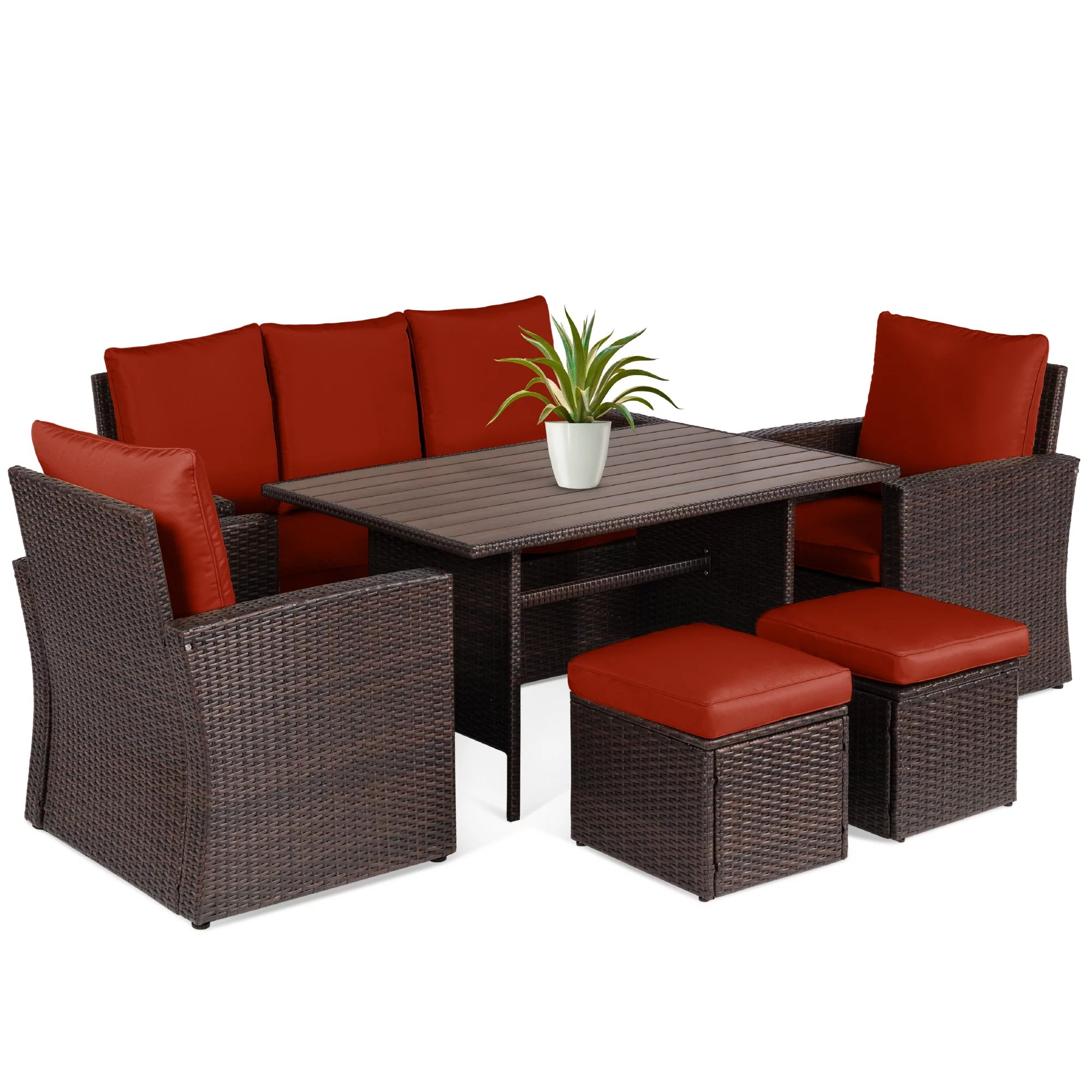 best choice products 7 seater conversation wicker dining table outdoor patio furniture set w cover brown red