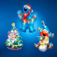Club Pack of 12 Lighted Sesame Street Glitter Christmas ...