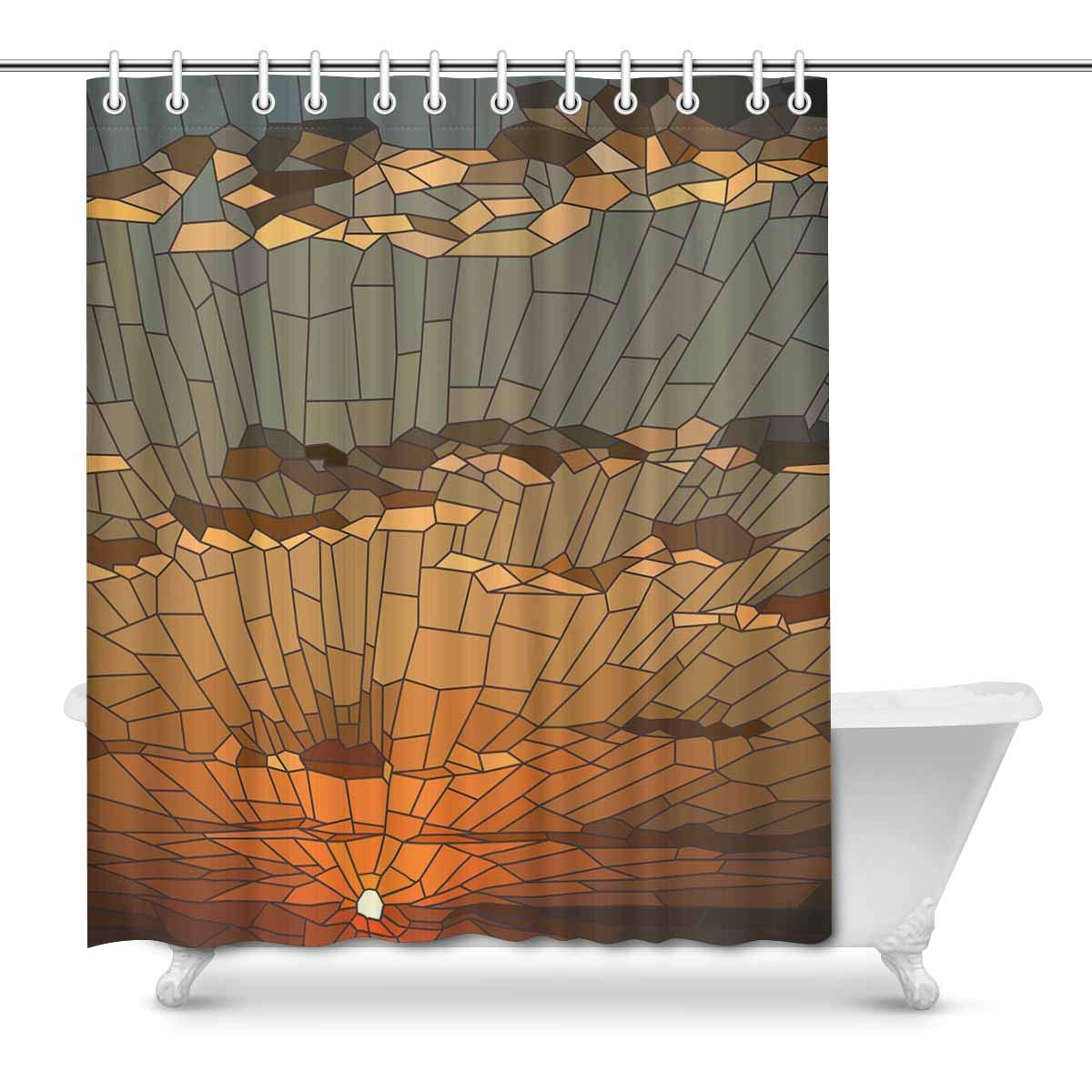 mkhert sunset clouds in stained glass window abstract background house decor shower curtain bathroom decorative bathroom shower curtain set rings