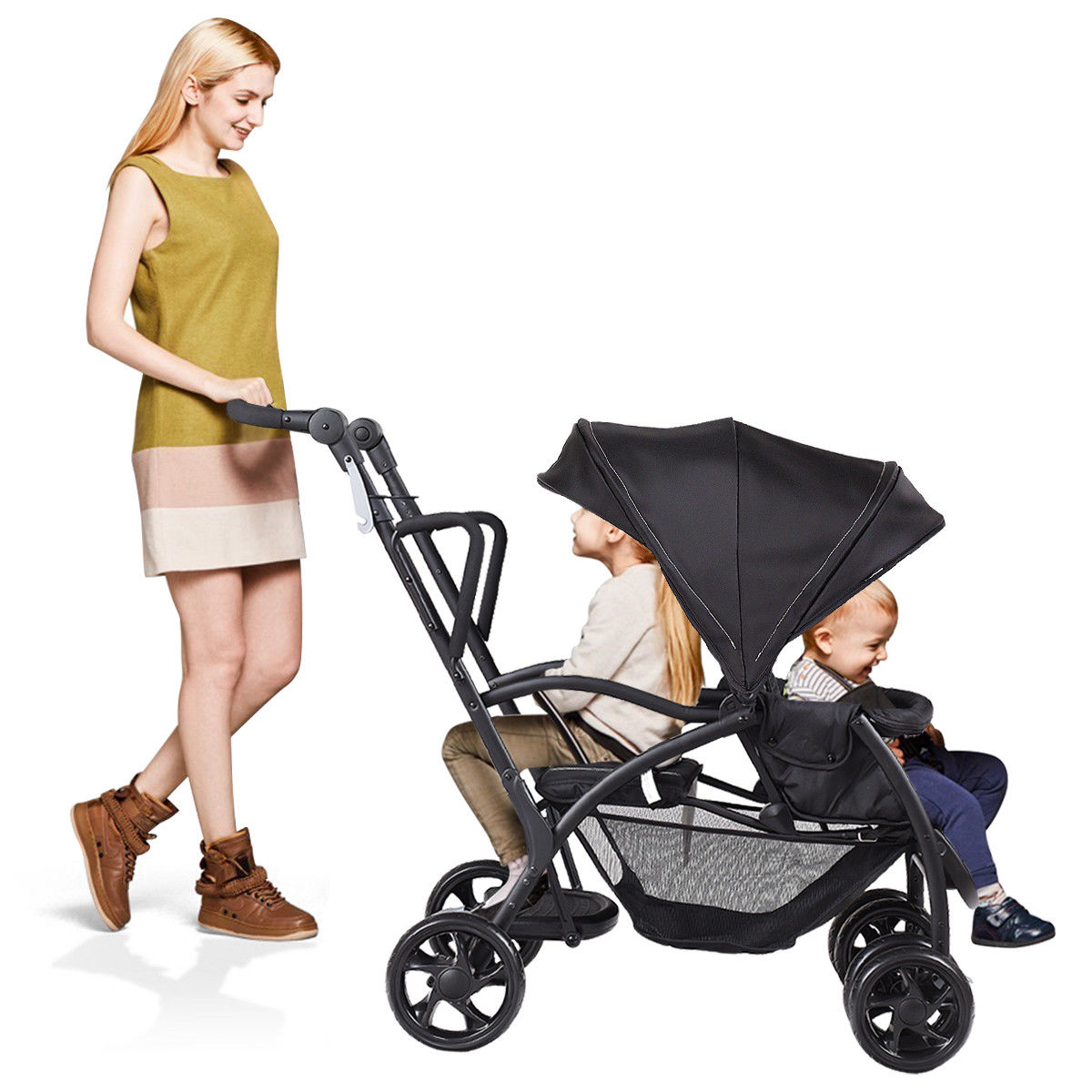 Folding Baby Sit Amp Stand Ultra Tandem Stroller Pushchair
