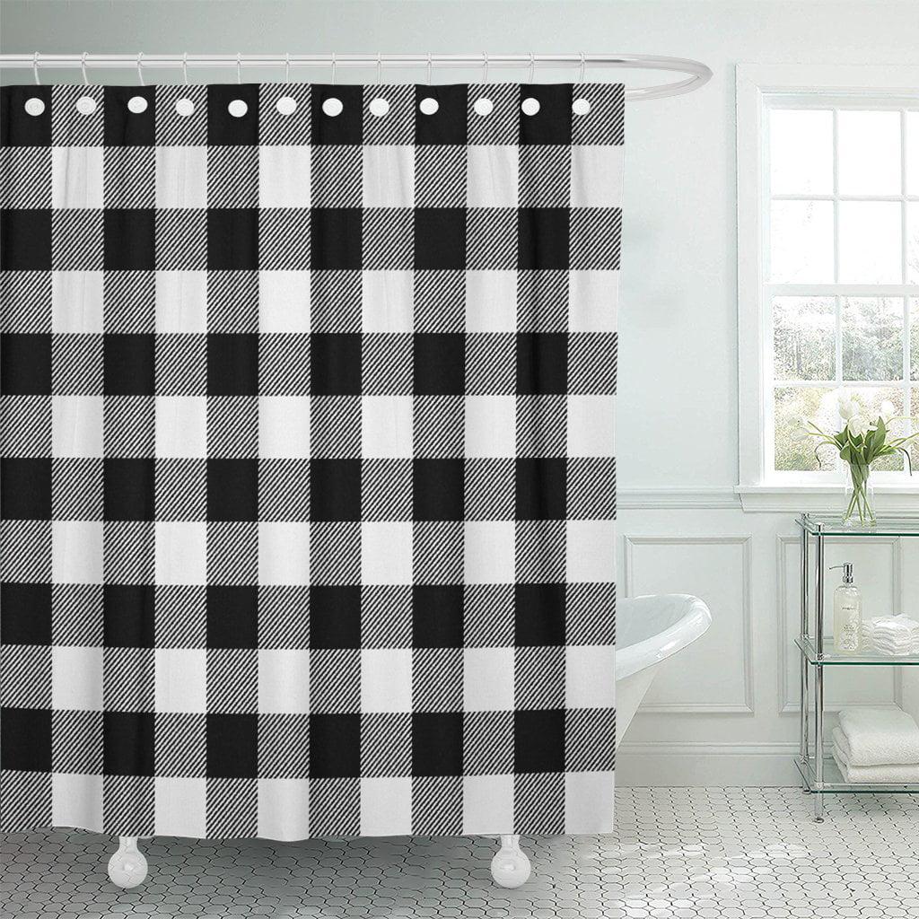 pknmt autumn white buffalo plaid black bright cabin check checkered polyester shower curtain 60x72 inches