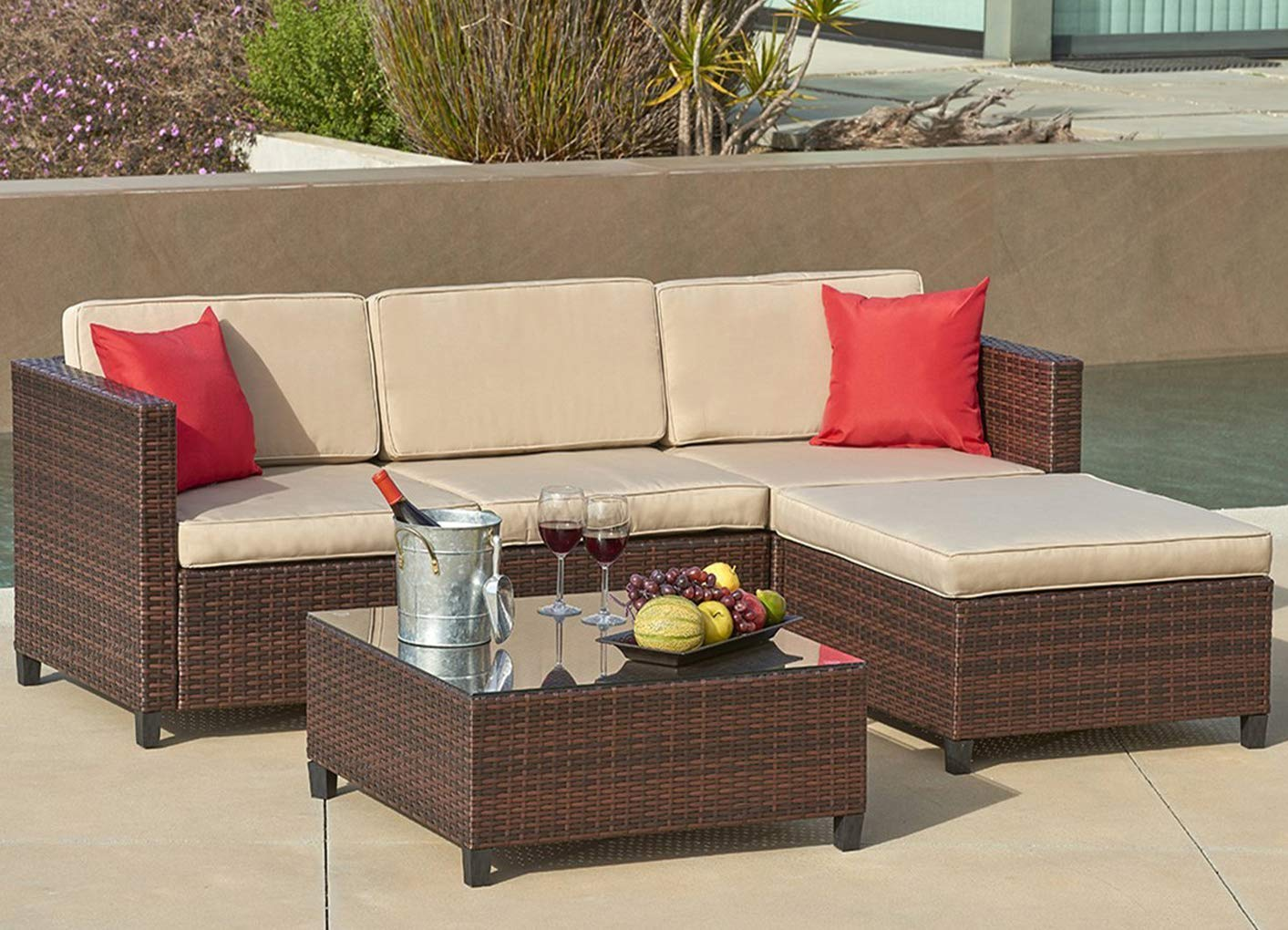 cushions for wicker chairs bedroom chair cream suncrown outdoor sectional sofa 5 piece set all weather brown checkered