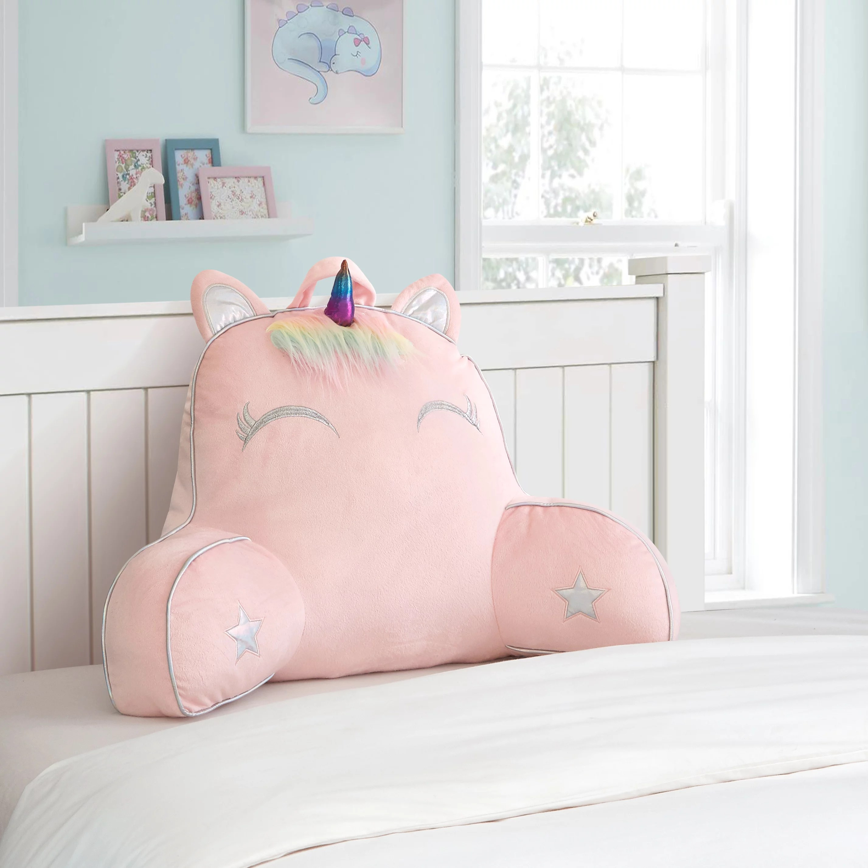 your zone unicorn backrest pillow for kids pink 24 x 17