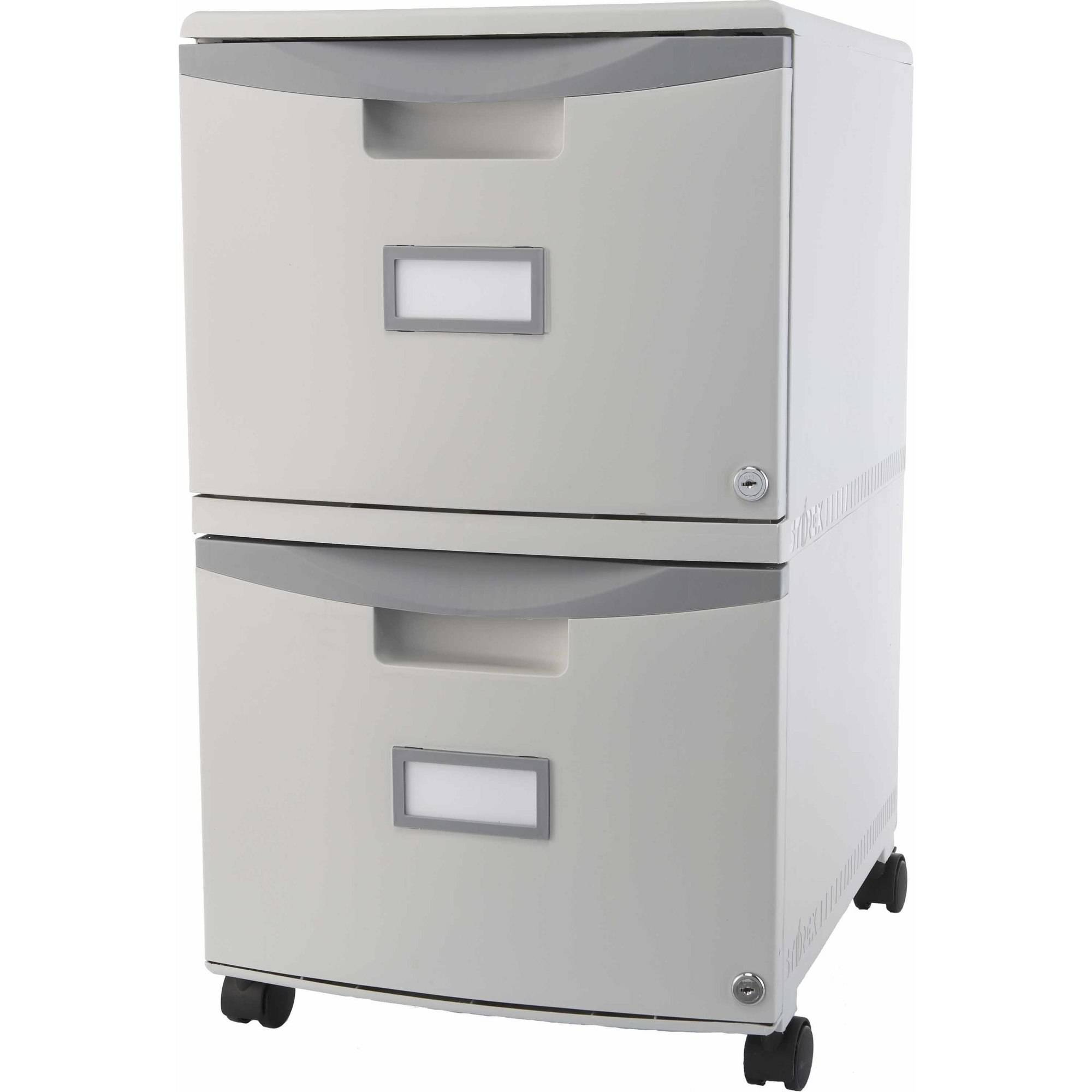Storex 2 Drawer Mobile File Cabinet With Lock And Casters