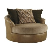 Ashley Declain Oversized Swivel Accent Faux Leather Chair ...