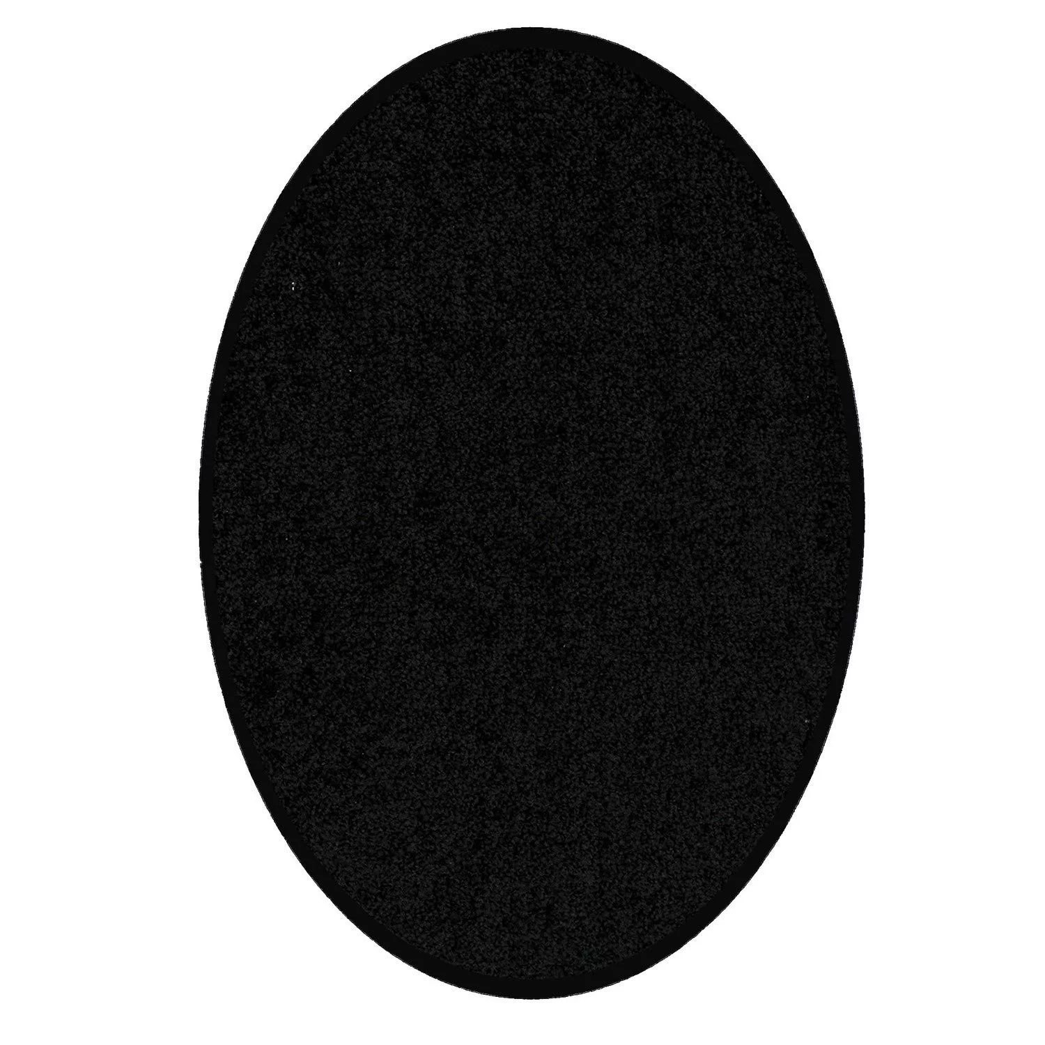Bright House Solid Color Oval Shape Area Rugs Black