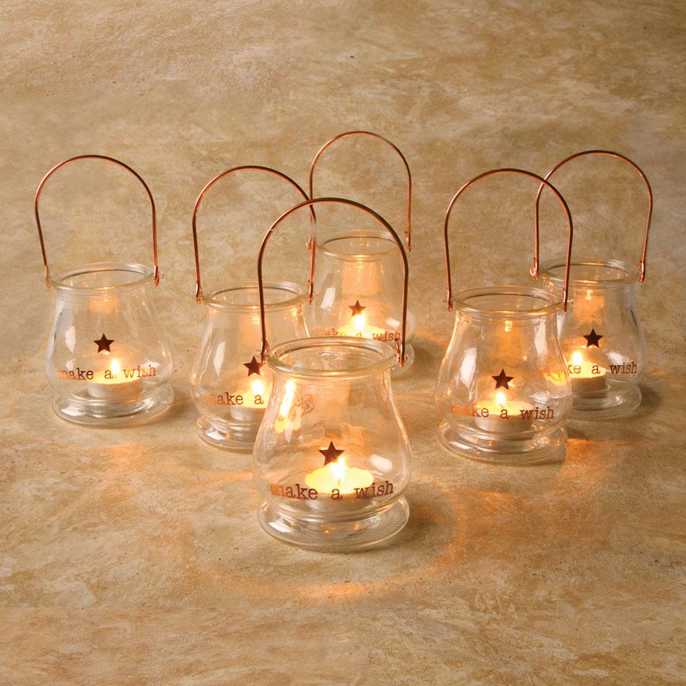 Make A Wish Glass Tea Light Lanterns Set Of 6 Candle Holders