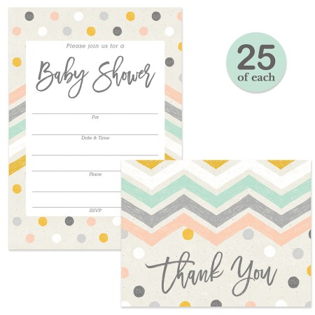 Pastel Baby Shower Invitations 25 Matching Thank You Notes Set With Envelopes Boy Mommy To Be Gender Neutral Polka Dots Chevron