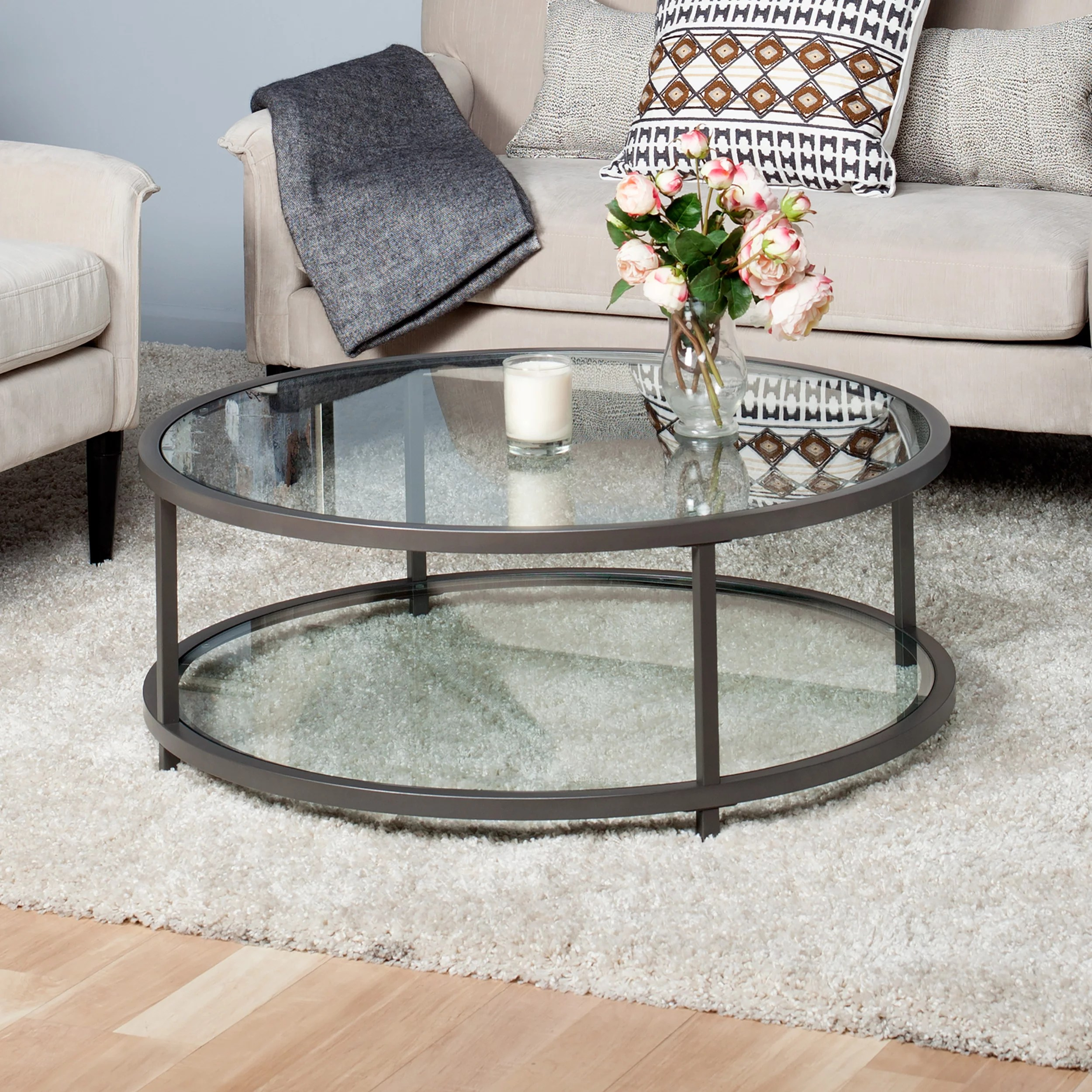 studio designs home camber 2 tier modern 38 round coffee table in pewter