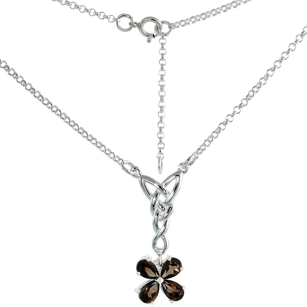 Sterling Silver Celtic 4-Leaf Clover Love Knot Necklace