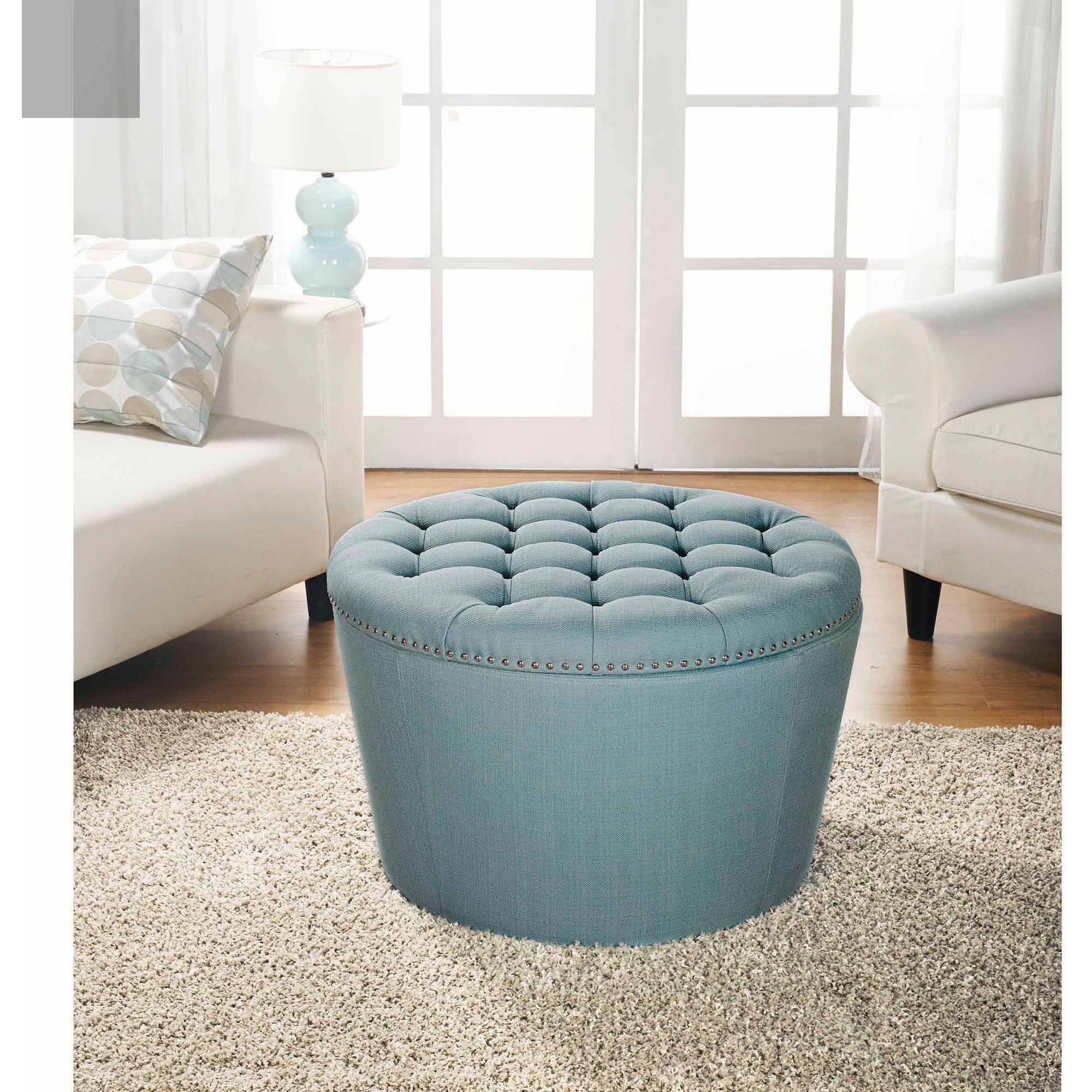 better homes and gardens round tufted storage ottoman with nailheads teal walmart com
