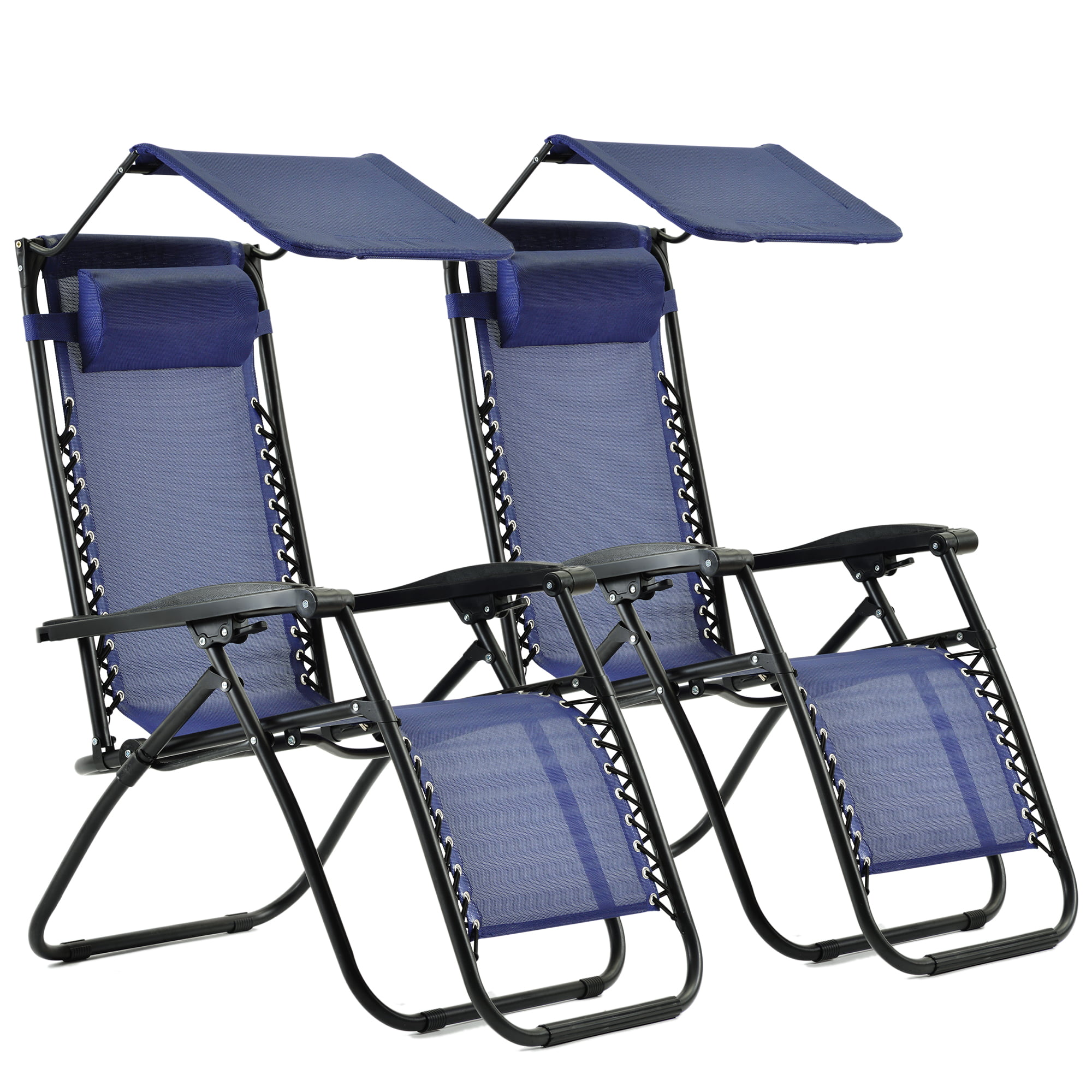 clearance folding patio chairs set of 2 zero gravity outdoor lounge chairs with canopy shade adjustable lawn reclining chairs with pillow for