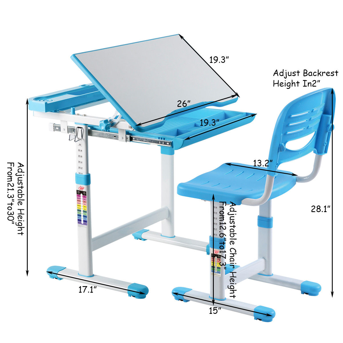 Height Adjustable Chair Gymax Height Adjustable Children S Desk Chair Set Multifunctional Study Drawing Blue