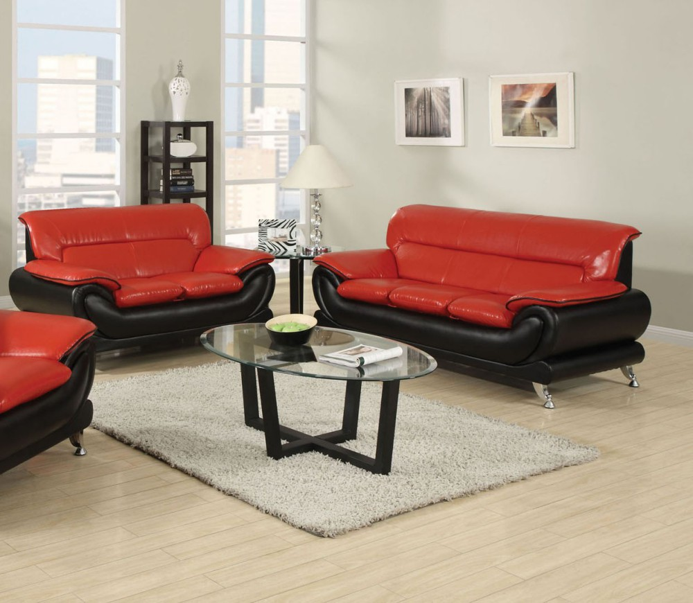 black and red leather sofa most comfortable convertible simple relax orel 2pcs bonded set loveseat departments
