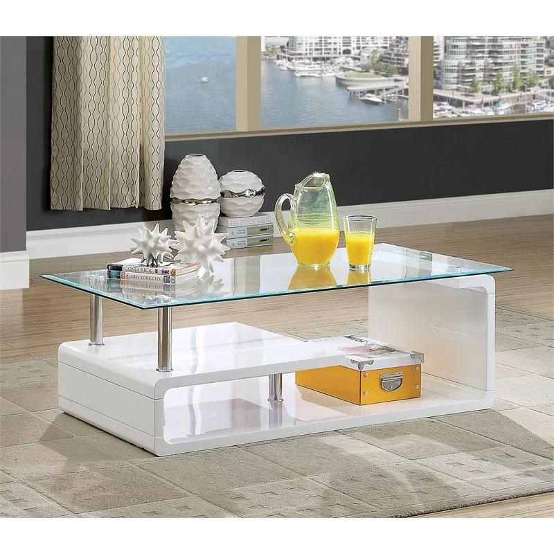 furniture of america velencia contemporary glass coffee table in glossy white