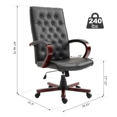 Wood And Leather Executive Office Chairs Steel Chair Wholesale Vinsetto Faux Home Wooden High Back Walmart Com