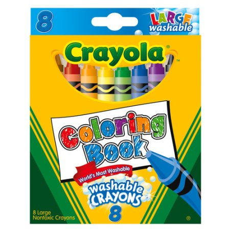 Crayola Large Coloring Book Washable Crayons, 8ct