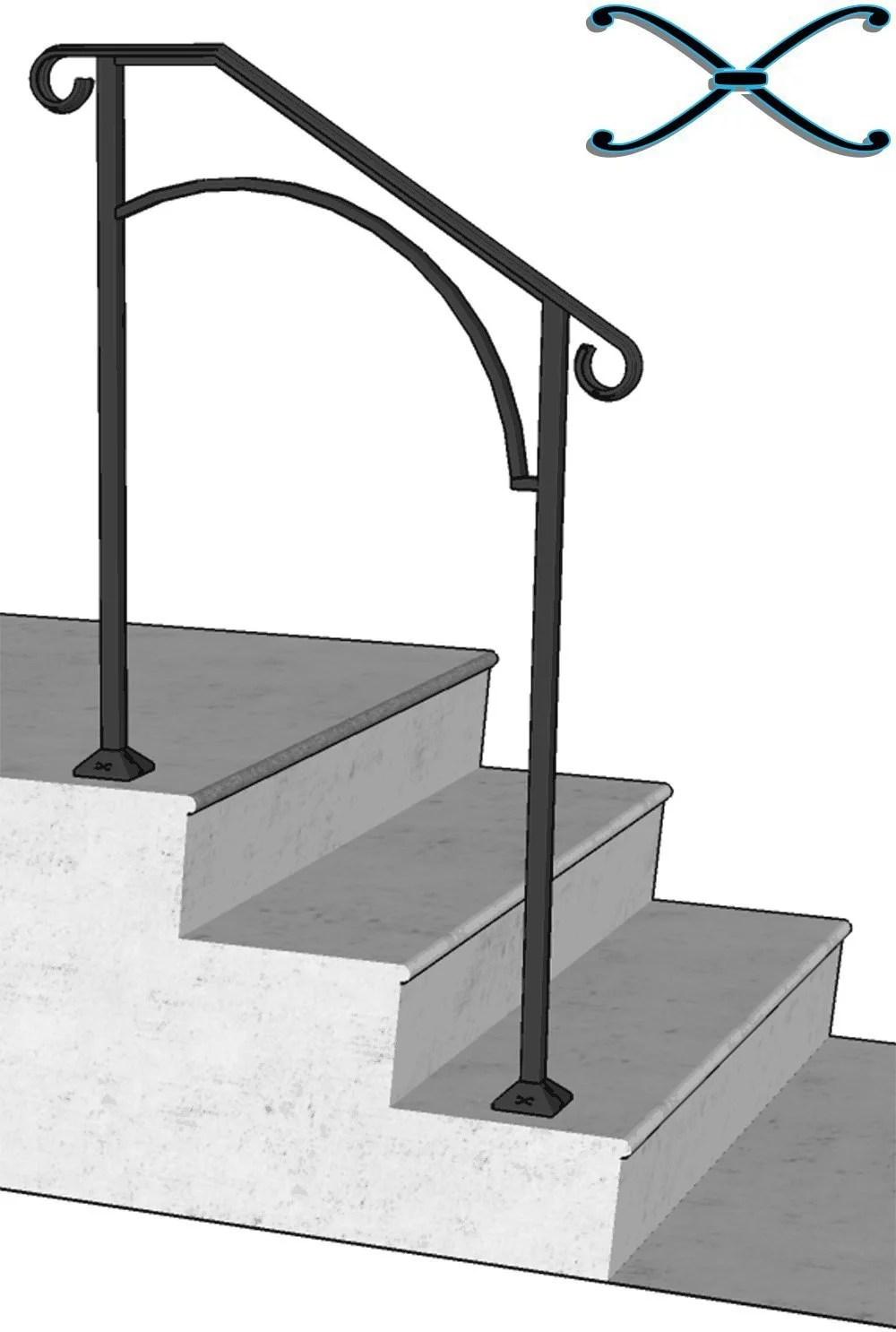 Iron X Handrail Arch 2 Concrete Steps Walmart Com Walmart Com   Handrails For Concrete Steps   Concrete Surface Mount Stair Railing   Back Patio   Premade   Landing   Deck Stair