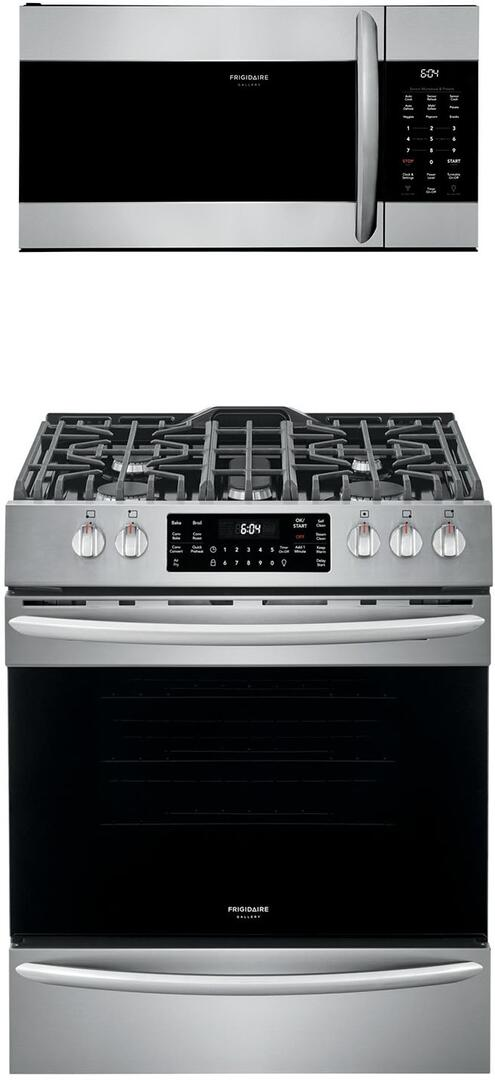 frigidaire 2 piece kitchen appliances package with fggh3047vf 30 slide in gas range and fgmv17wnvf 30 over the range microwave in stainless steel