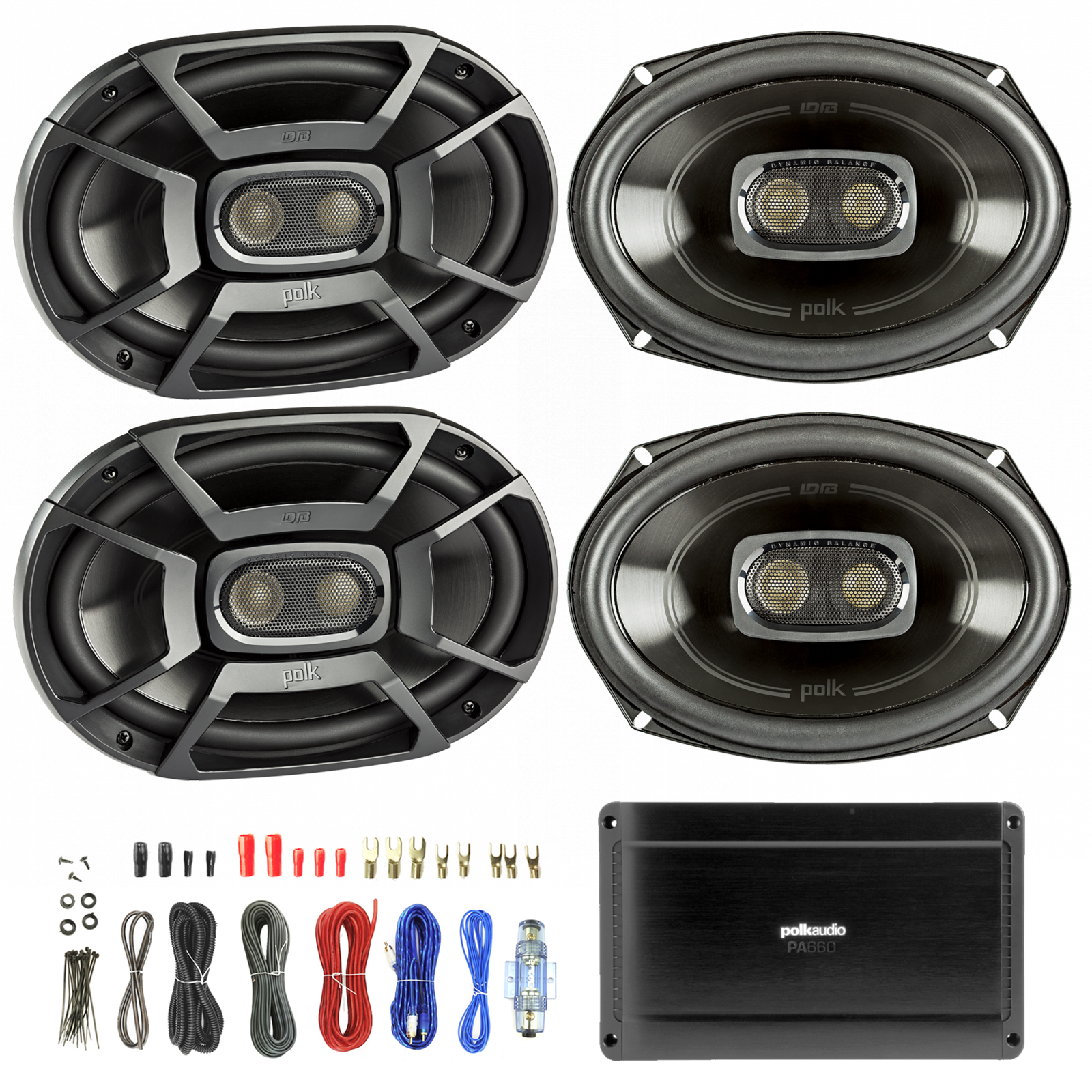 medium resolution of 4x polk 6x9 inch 450w 3 way car boat coaxial stereo audio speakers marine db692