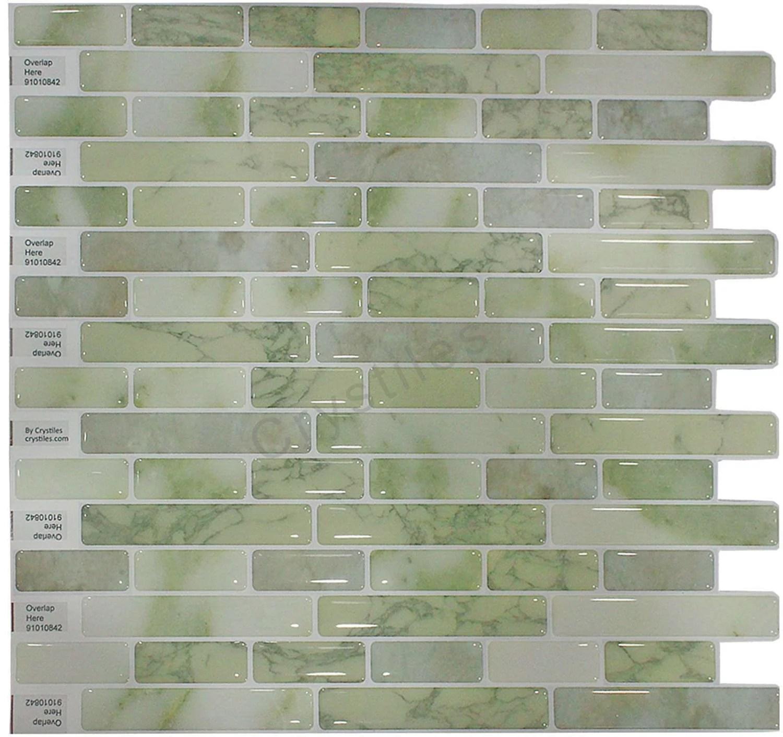 crystiles 10 in x 10 in peel and stick vinyl wall tile backsplash 6 pack