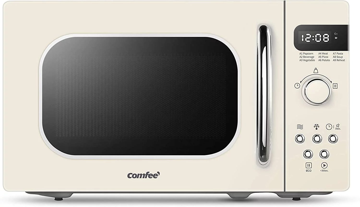 comfee retro countertop microwave oven with compact size position memory turntable sound on off button child safety lock and eco mode