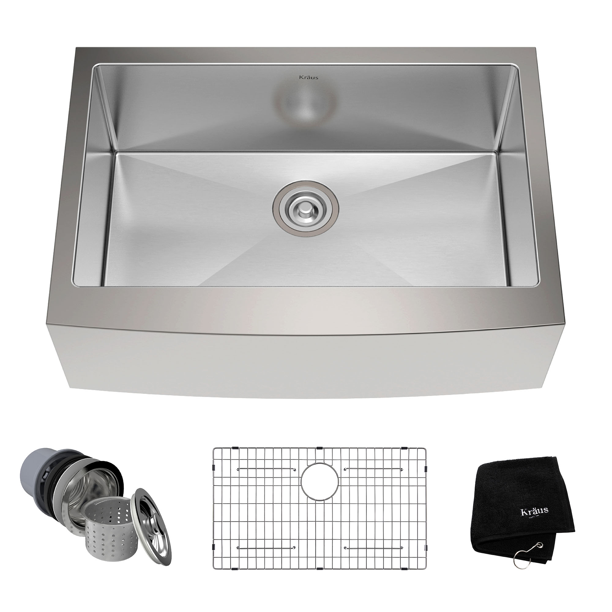 single bowl stainless kitchen sink carts kraus 30 farmhouse steel with soundproofing walmart com