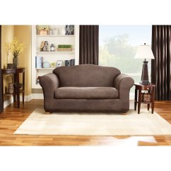 2 Piece Brown Leather Sofa Carpet And Cleaner Sure Fit Stretch Slipcover Walmart Com