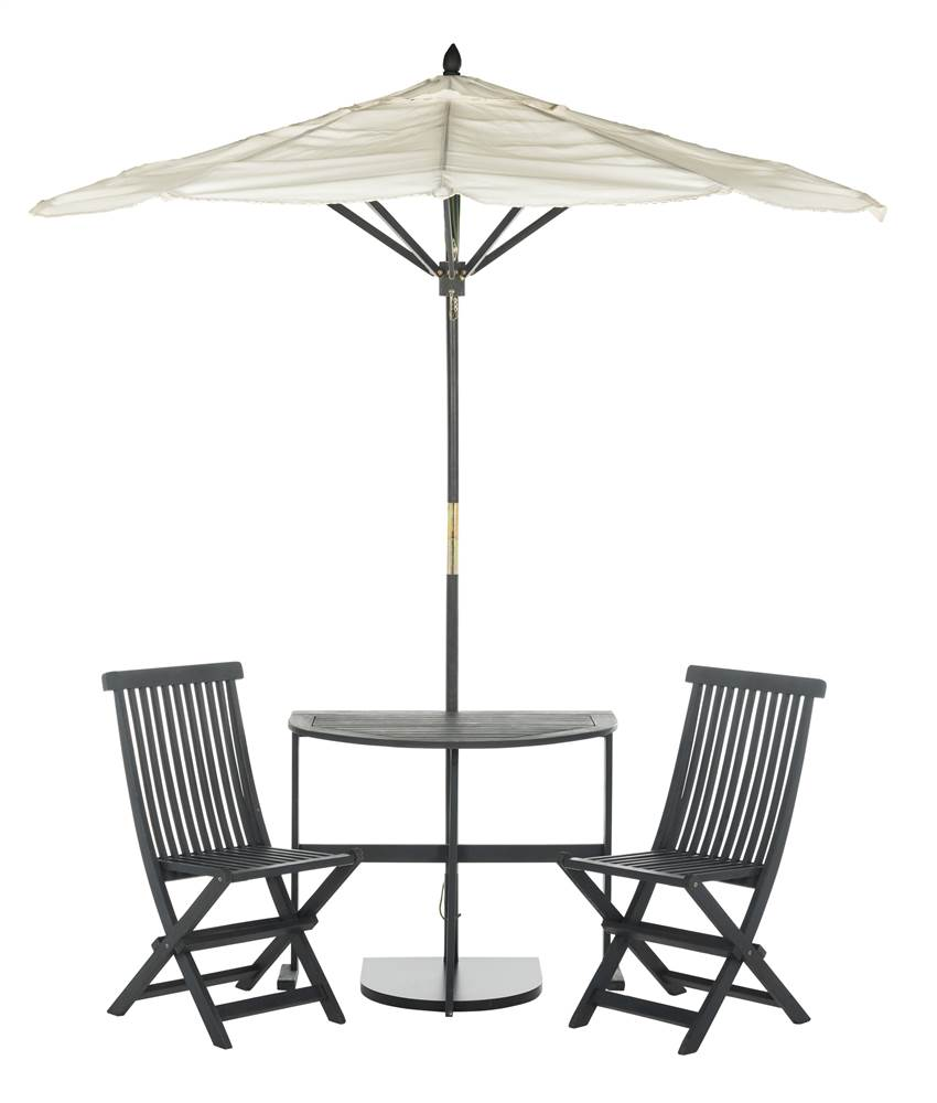 safavieh evert 3 piece outdoor modern half patio set and umbrella