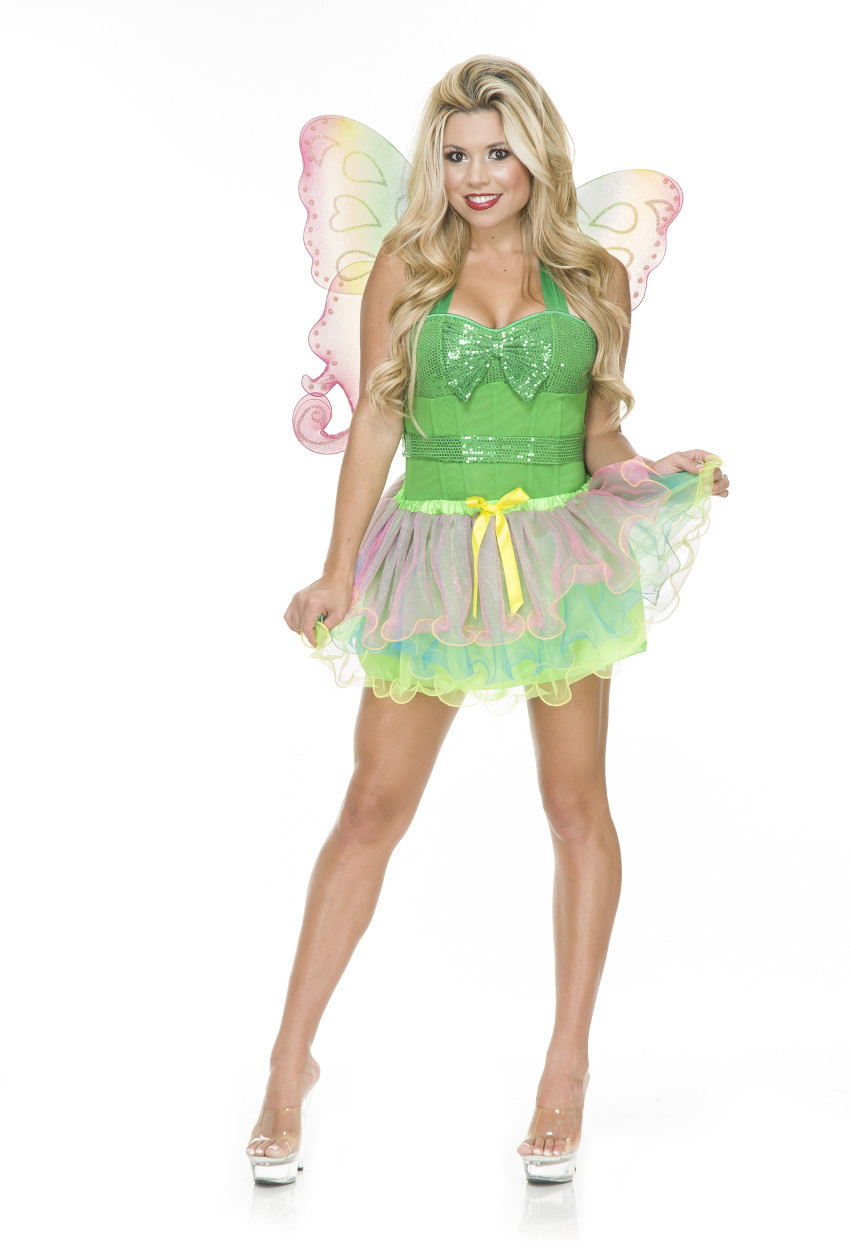 Adult Womens Rainbow Fairy Cute Tutu and Wings Costume Set